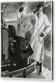 Women By A Car Acrylic Print