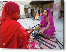 Women Constructing Solar Cookers Acrylic Print by Ashley Cooper
