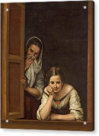 Women From Galicia At The Window Acrylic Print by Bartolome Esteban Murillo