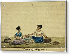 Women Grinding Flower Acrylic Print by British Library