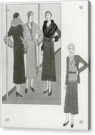 Women Modeling Designer Clothing Acrylic Print by Polly Tigue Francis