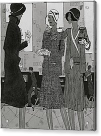Women On A City Street Wearing Yvonne Carette Acrylic Print by Jean Pages
