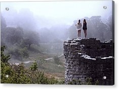 Women Overlooking Bright Foggy Valley Acrylic Print