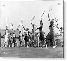 Women Practicing Tennis Acrylic Print by Underwood Archives
