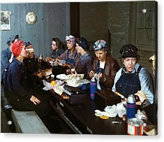 Women Railway Workers At Lunch Acrylic Print