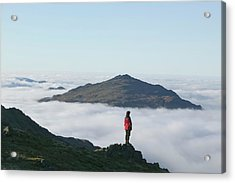 Women Walker Looking Towards Harter Fell Acrylic Print by Ashley Cooper