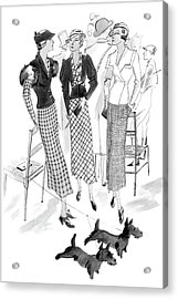 Women Wearing Checked Suits Acrylic Print by Jean Pages