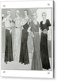 Women Wearing Designer Dresses Acrylic Print