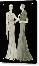 Women Wearing Mainbocher Dresses Acrylic Print