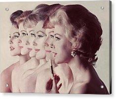 Women Wearing Revlon Lipstick Acrylic Print by John Rawlings