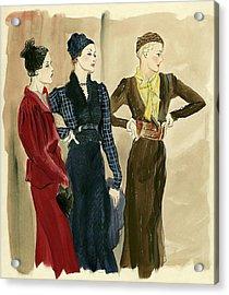Women Wearing Schiaparelli Acrylic Print by Rene Bouet-Willaumez