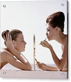 Women With A Mirror Acrylic Print by Leombruno-Bodi