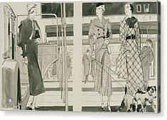 Women With Dogs By A Car Acrylic Print by Jean Pages