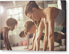 Women Working Out In Exercise Class Acrylic Print by John Fedele