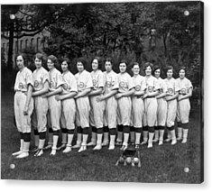 Women's Baseball Team Acrylic Print by Underwood Archives