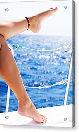 Women's Feet On The Yacht Acrylic Print