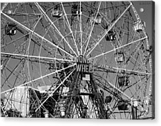 Wonder Wheel Of Coney Island In Black And White Acrylic Print