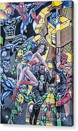 Acrylic Print featuring the mixed media Wonder Woman Abstract by Terry Rowe
