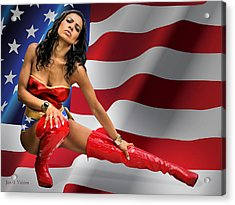 Flag Day With Wonder Warrior Acrylic Print