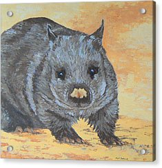 Acrylic Print featuring the painting Wonderful Wombat by Margaret Saheed