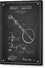 Wood Banjo Patent Drawing From 1887 - Dark Acrylic Print