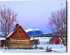 Wood Barn Wlighted Holiday Wreath & Acrylic Print by Michael DeYoung