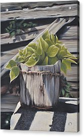 Wood Bucket - Pastel Acrylic Print by Ben Kotyuk