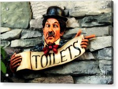 Acrylic Print featuring the photograph Wood Carved Toilet Sign by Marjorie Imbeau