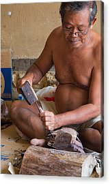 Acrylic Print featuring the photograph Wood Carver - Bali by Matthew Onheiber