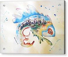 Wood-fish Acrylic Print by Natasa Dobrosavljev
