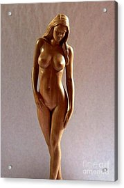 Wood Sculpture Of Naked Woman - Front View Acrylic Print