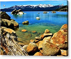 Wood Stone Water Acrylic Print by Benjamin Yeager