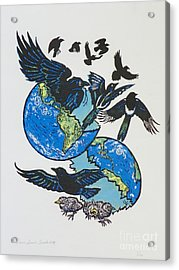 Woodcut Cover Illustration For Corvidae - Poems By Bj Buckley Acrylic Print by Dawn Senior-Trask