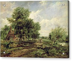 Wooded River Landscape With A Cottage And A Horse Drawn Cart Acrylic Print