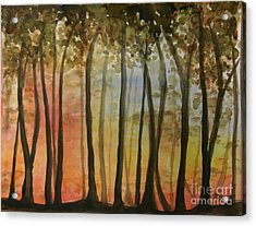 Wooded Sunset Acrylic Print by Bev Arnold
