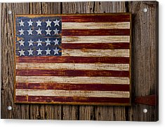 Wooden American Flag On Wood Wall Acrylic Print