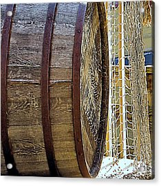 Wooden Barrel And Net Acrylic Print by Janice Drew