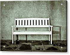 Wooden Bench Acrylic Print by Tom Gowanlock
