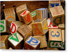 Wooden Blocks With Alphabet Letters Acrylic Print by Amy Cicconi