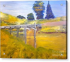 Acrylic Print featuring the painting Wooden Bridge At Graften by Pamela  Meredith