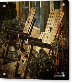 Wooden Chairs Acrylic Print by Judy Wolinsky