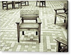 Wooden Chairs Acrylic Print by Tom Gowanlock