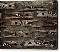 Wooden Clothespins Acrylic Print by Priska Wettstein