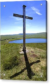 Wooden Cross Overlooking Lake Godivelle. Puy De Dome. Auvergne. France Acrylic Print