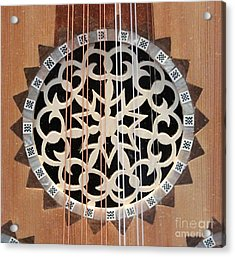 Wooden Guitar Inlay With Strings Acrylic Print by Cynthia Snyder