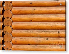 Wooden Logs Wall Background Acrylic Print by Kiril Stanchev