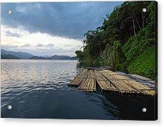 Wooden Rafts Moored On Lake By Trees Against Cloudy Sky Acrylic Print by Shaifulzamri Masri / EyeEm