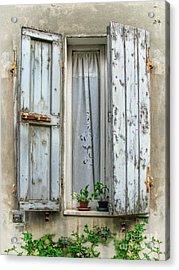 Wooden Shutters In Urbino Acrylic Print by Jennie Breeze