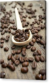 Wooden Spoon With Coffee Beans Acrylic Print