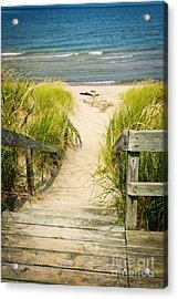 Wooden Stairs Over Dunes At Beach Acrylic Print
